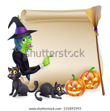 Halloween scroll or banner sign with orange carved Halloween pumpkins and black witch's cats, witch's broom stick and cartoon witch character