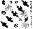 Halloween seamless background with bats on white. Raster version. - stock photo