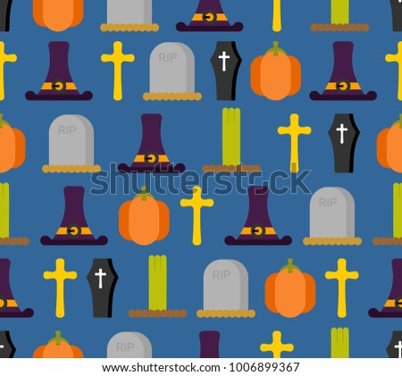 Halloween seamless pattern. Background for terrible holiday. hat witch and tombstone. Pumpkin and zombies