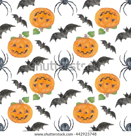 halloween seamless Pattern watercolor Illustration background Texture  - stock photo