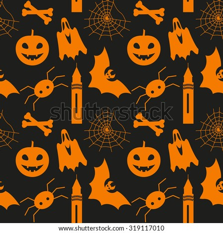 Halloween seamless pattern with pumpkin, bat, ghost, spider and web - stock photo