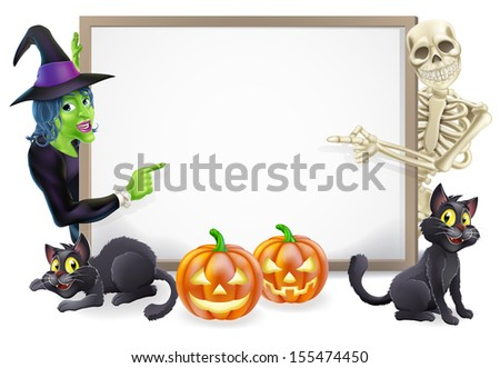Halloween sign or banner with orange Halloween pumpkins and black witch's cats, witch's broom stick and cartoon witch and skeleton characters
