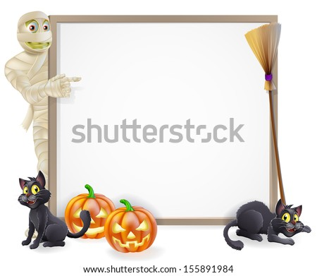 Halloween sign or banner with orange Halloween pumpkins and black witch's cats, witch's broom stick and cartoon mummy monster character  - stock photo