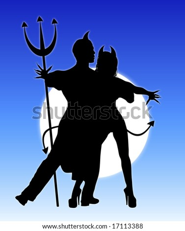 Halloween silhouette of devil couple dancing - stock photo