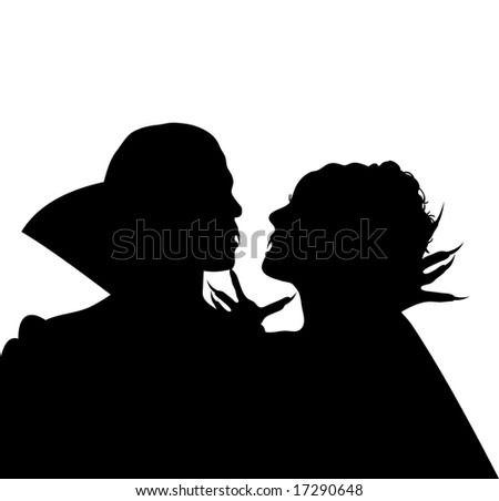 Halloween silhouette of vampire couple embracing