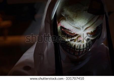 halloween skull face closeup - stock photo
