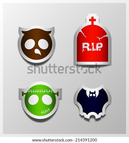 Halloween sticker symbols owl, headstone, bat, Frankenstein collection. - stock photo