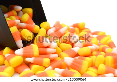 Halloween Striped Candy Corn against a white background  - stock photo