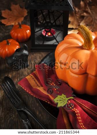 Halloween table setting - stock photo
