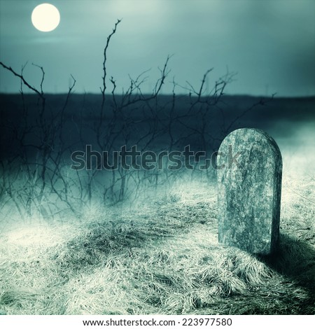 Halloween theme.  gravestone on old cemetery. Midnight with full moon - stock photo