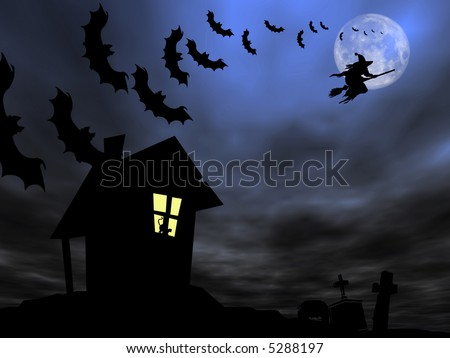 Halloween theme: Witch and bats are flying over the old house and cemetery