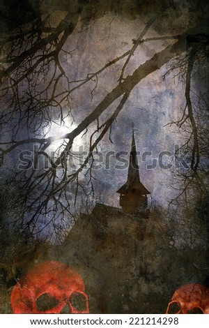 Halloween theme with the castle of Dracula and skulls in the foreground - stock photo