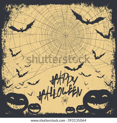 Halloween themed background with hand drawn lettering and bats silhouettes and scary pumpkins. Raster version. - stock photo