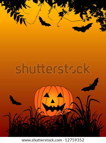Halloween themed background with jack-o-lantern and bats