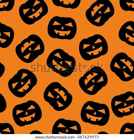 Halloween tile pattern with black pumpkin on orange background