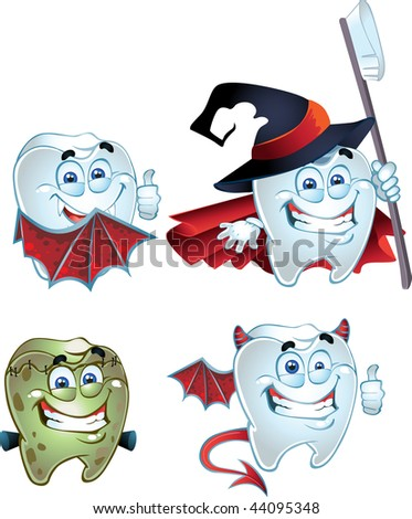 Halloween Tooth character dressed in costumes of monsters. raster - stock photo