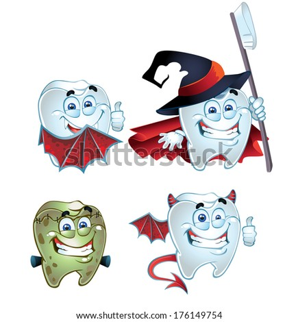 Halloween Tooth character dressed in fun costumes - stock photo