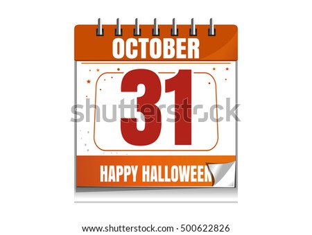 Halloween Wall Calendar Holiday Date 31th Stock Illustration ...