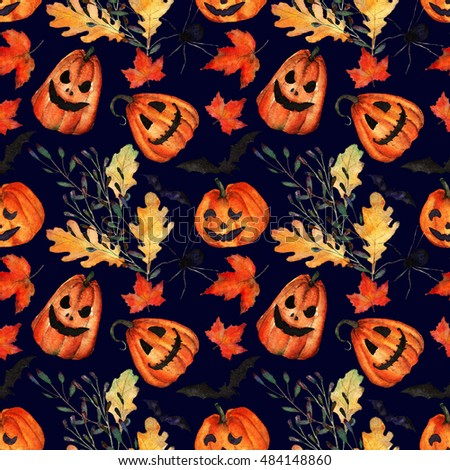 Halloween, watercolor, handmade,pumpkins and autumn leaves,bats and spiders,seamless pattern,black background