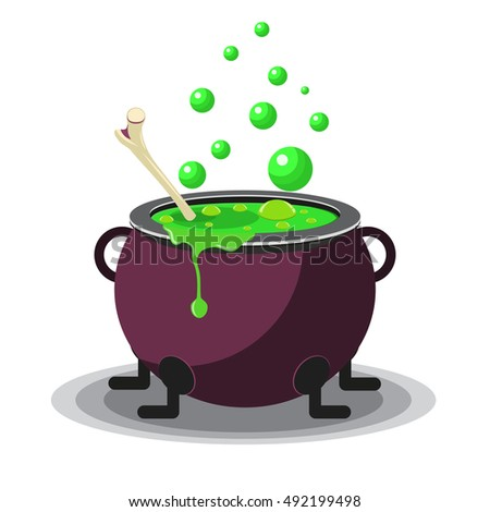 Halloween Witch cauldron with green potion isolated on white background. illustration for Halloween design, website, flier, invitation card Raster version