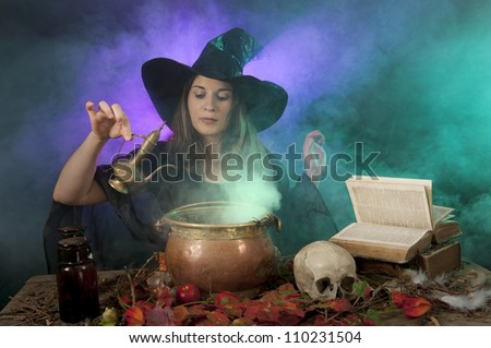 halloween witch making potions