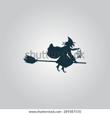 Halloween witch. Silhouette. Flat web icon or sign isolated on grey background. Collection modern trend concept design style illustration symbol - stock photo