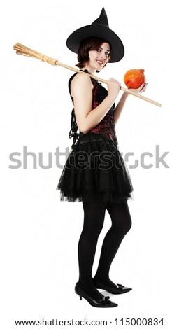 halloween witch standing on a white background