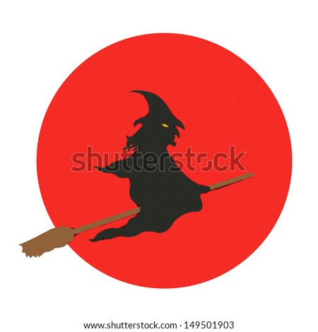 Halloween Witch With The Red Full Moon Made From Recycle Paper Isolated on White Background