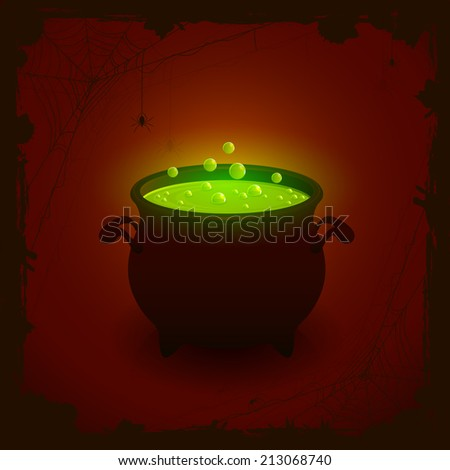 Halloween witches cauldron with green potion on dark background, illustration. - stock photo