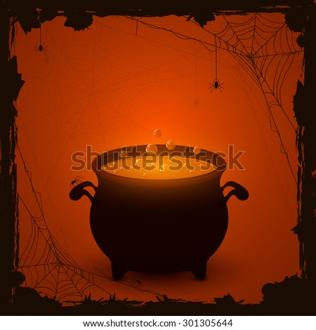 Halloween witches cauldron with orange potion and spiders on dark background, illustration. - stock photo