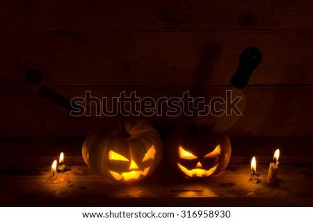 halloween with dark tone - stock photo