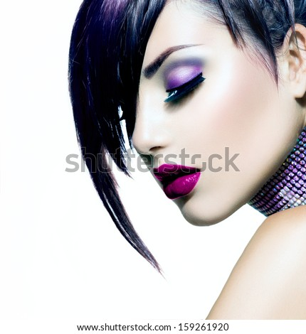Halloween Woman Make up. Fashion Beauty Vampire Girl. Gorgeous Woman Portrait. Stylish Fringe Haircut and Makeup. Hairstyle. Vogue Style. Sexy Glamour Punk Girl with White Skin and Dark Makeup - stock photo