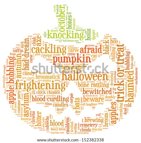 Halloween word cloud illustration in shape of a orange pumpkin on white background with words related to halloween - witch, trick or treat, candy, pumpkin, halloween, knocking and similar - stock photo