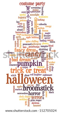 Halloween word cloud illustration on white background with words related to halloween - witch, trick or treat, candy, pumpkin, halloween, knocking and similar - stock photo