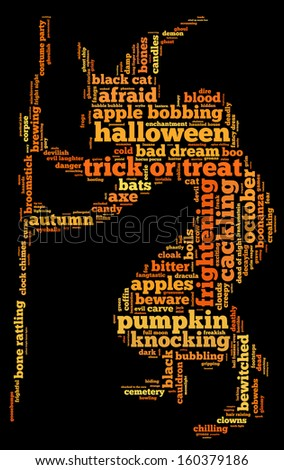 Halloween Word Cloud Shape Witch Stick Stock Illustration 160379186