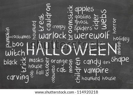 halloween word cloud on blackboard