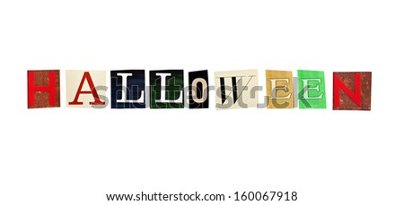 Halloween word formed with magazine letters on a white background