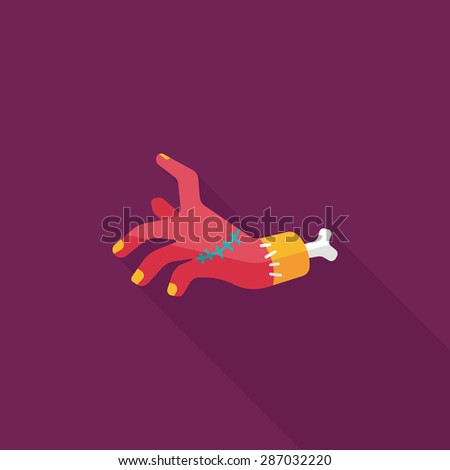 Halloween zombie hand flat icon with long shadow - stock photo