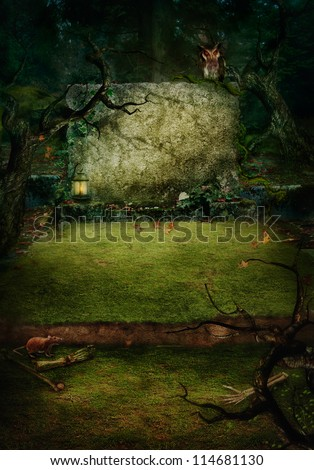 Hallowen design background. Ancient Tomb at graveyard in forest with copyspace. Grave with bones, spooky trees and owl. - stock photo