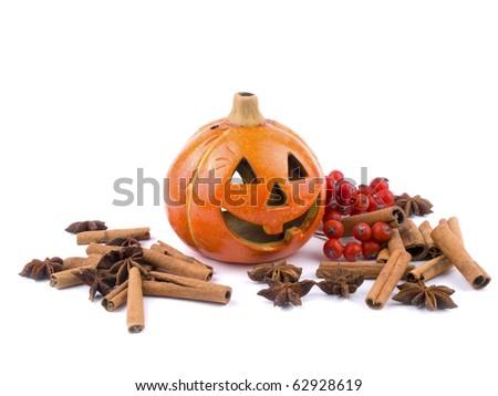 Hallowen pumpkin lantern on white background - stock photo