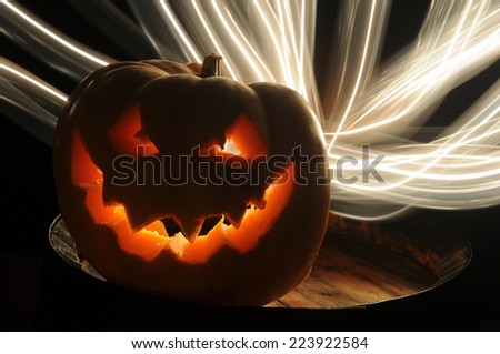 hallowen pumpkin terror lights - stock photo