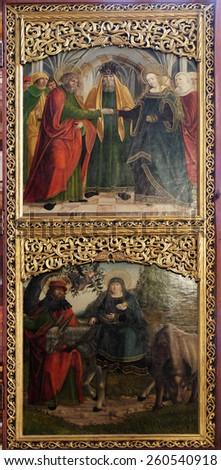 HALLSTATT, AUSTRIA - DECEMBER 13: Engagement of the Virgin Mary, Flight to Egypt, altar in Maria am Berg church on December 13, 2014 in Hallstatt, Austria. - stock photo