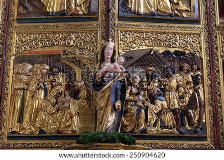 HALLSTATT, AUSTRIA - DECEMBER 13: Virgin Mary with baby Jesus, altar in Maria am Berg church on December 13, 2014 in Hallstatt, Austria. - stock photo