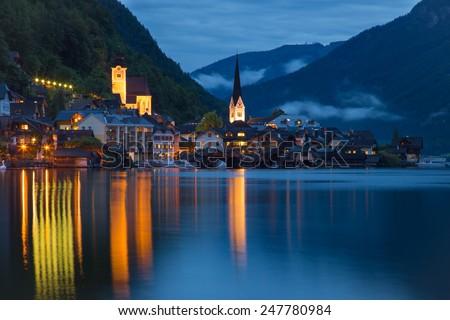 Hallstatt, Austria in the night - stock photo