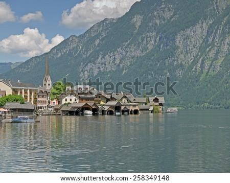 HALLSTATT, AUSTRIA - 26 June 2014: Hallstatt in Upper Austria is a famous landmark and a UNESCO World Heritage.  - stock photo