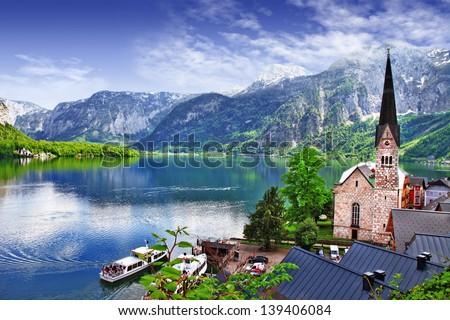 Hallstatt - beauty of Alps. Austria - stock photo