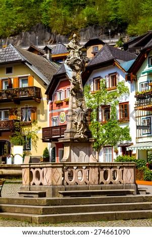 Hallstatt central square, in Austria - stock photo