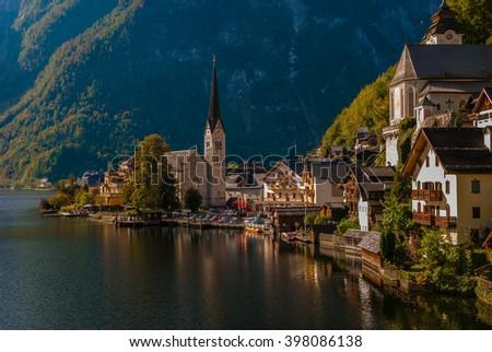 Hallstatt classic view, Austria - stock photo