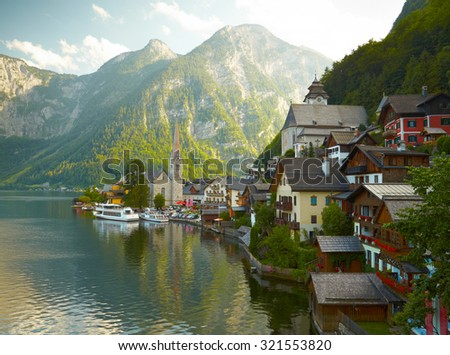Hallstatt mountain village  - stock photo