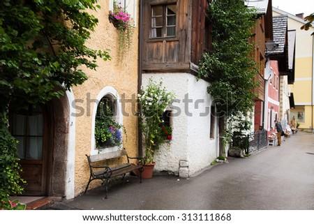 hallstatt picturesque village near Salzburg austria europe - stock photo